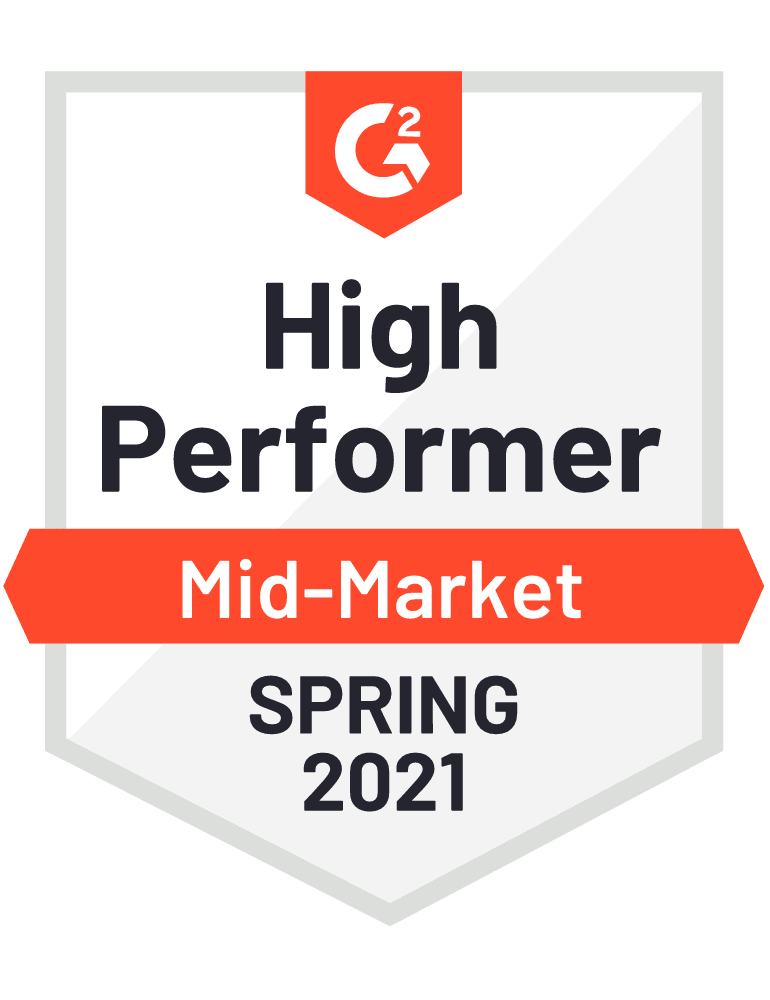 G2 Mid-Market High Performer Spring 2021