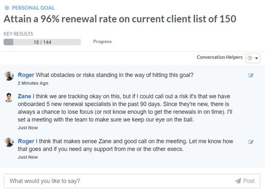 performance goal conversation discussion thread