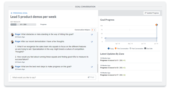 performance goals and goal conversations Quantum Workplace