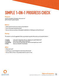 simple 1-on-1 progress check