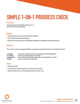 simple 1-on-1 progress check
