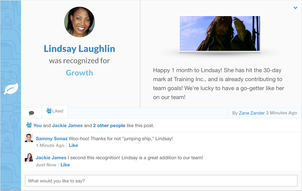 employee onboarding software - recognition feature