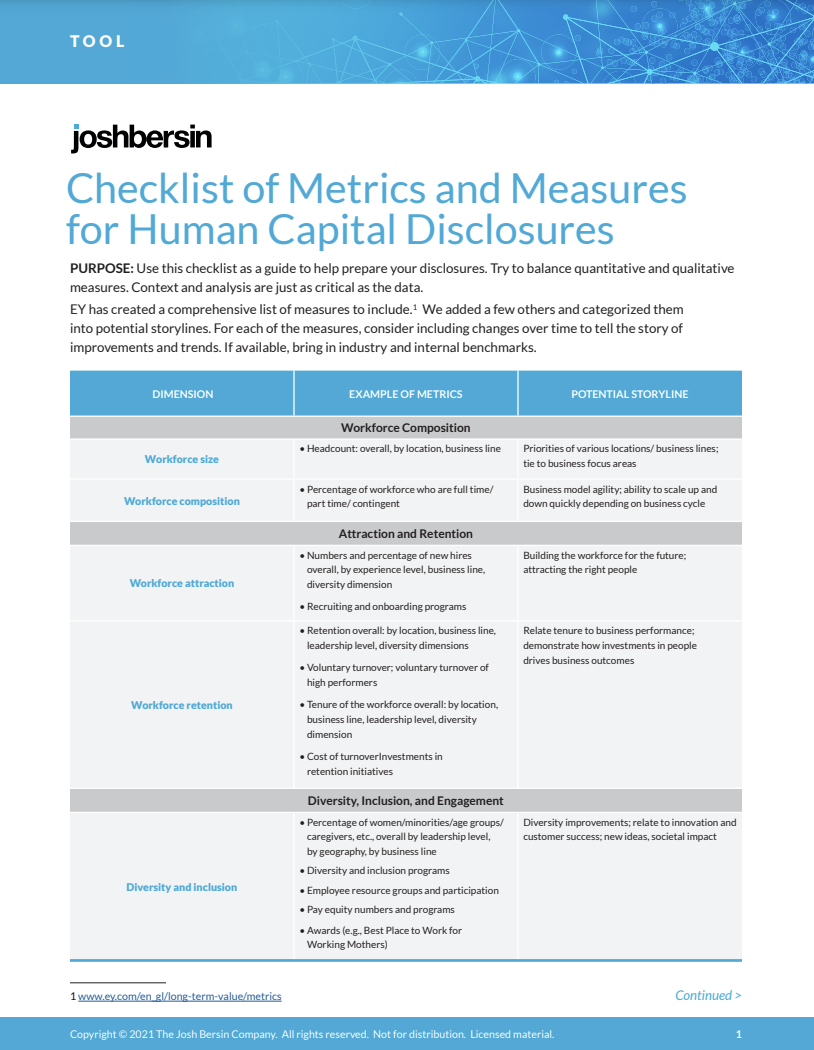 Checklist of Metrics and Measures for Human Capital Disclosures